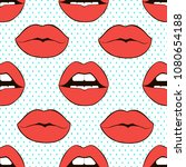seamless pattern lips. sexy... | Shutterstock .eps vector #1080654188