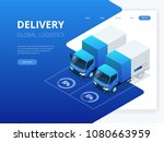 isometric logistics and... | Shutterstock .eps vector #1080663959