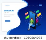isometric online dating and... | Shutterstock .eps vector #1080664073