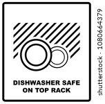 dishwasher safe on top rack... | Shutterstock . vector #1080664379