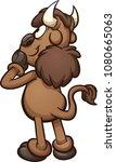 cartoon bison reading something....   Shutterstock .eps vector #1080665063