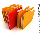 orange folders row with one red selected - stock photo