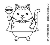 cute cat with cloak and jingle... | Shutterstock .eps vector #1080685670