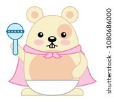 cute hamster with cloak and... | Shutterstock .eps vector #1080686000