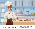 commercial kitchen with cartoon ... | Shutterstock .eps vector #1080688823