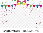 colorful flags with confetti... | Shutterstock .eps vector #1080693743