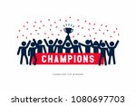 stick figures of the winner cup ...   Shutterstock .eps vector #1080697703