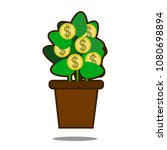 money tree with golden coins.... | Shutterstock .eps vector #1080698894