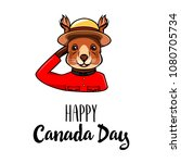 squirrel canada day greeting.... | Shutterstock .eps vector #1080705734