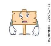 afraid wooden board mascot...   Shutterstock .eps vector #1080717476
