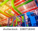 pipe and equipment of chiller... | Shutterstock . vector #1080718340