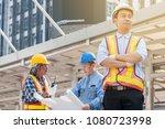 asian civil engineer team... | Shutterstock . vector #1080723998
