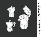 moka pot set isolated vector.... | Shutterstock .eps vector #1080725390