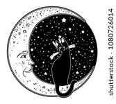 the cat on the moon. vector... | Shutterstock .eps vector #1080726014