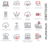 vector set of flat linear icons ... | Shutterstock .eps vector #1080733100