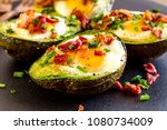 baked avocado and eggs boats... | Shutterstock . vector #1080734009