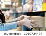 asian woman's hand shopping in... | Shutterstock . vector #1080734474