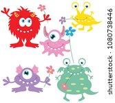 colorful monster vector cartoon ... | Shutterstock .eps vector #1080738446