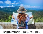 asian woman travel relax in the ... | Shutterstock . vector #1080753188