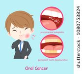 businessman with oral cancer on ... | Shutterstock .eps vector #1080753824