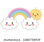 happy kawaii rainbow sun clouds ... | Shutterstock .eps vector #1080758939