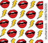 female lips and thunders pop... | Shutterstock .eps vector #1080762020