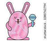 cute rabbit with jingle bell... | Shutterstock .eps vector #1080762794