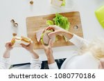 mother with daughter eating... | Shutterstock . vector #1080770186