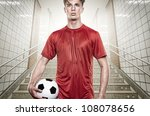 young soccer player in gray... | Shutterstock . vector #108078656