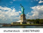statue of liberty against the... | Shutterstock . vector #1080789680