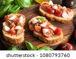 italian bruschetta or crostini... | Shutterstock . vector #1080793760