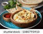traditional chickpea hummus in... | Shutterstock . vector #1080793910