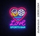 sports bar logo neon vector.... | Shutterstock .eps vector #1080811064