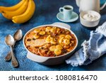 caramelized banana and walnut ... | Shutterstock . vector #1080816470