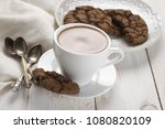 cup of hot chocolate with... | Shutterstock . vector #1080820109