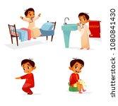 Vector Cartoon Arab Boy Daily...
