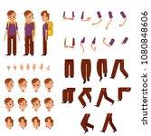 schoolboy creation set   little ... | Shutterstock .eps vector #1080848606