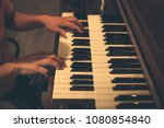 a caucasian male's hand playing ... | Shutterstock . vector #1080854840