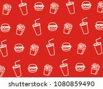 vector fast food pattern. | Shutterstock .eps vector #1080859490