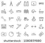 thin line icon set   drill... | Shutterstock .eps vector #1080859880
