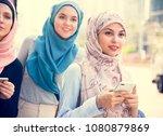 group of islamic women friends | Shutterstock . vector #1080879869