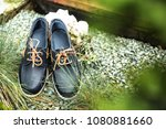 blue loafers with brown laces.... | Shutterstock . vector #1080881660