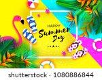 pink flaingo. flower strelitzia....   Shutterstock .eps vector #1080886844