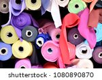 Small photo of Colorful fabric roll. Silk roll.
