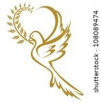 golden dove of peace | Shutterstock .eps vector #108089474