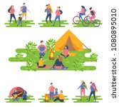 camper people set  tourists... | Shutterstock .eps vector #1080895010