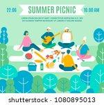 picnic in park  vector poster.... | Shutterstock .eps vector #1080895013