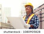senior asian civil engineer... | Shutterstock . vector #1080905828