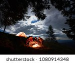 night camping in the mountains. ...   Shutterstock . vector #1080914348