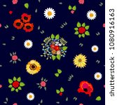 bright floral pattern with...   Shutterstock .eps vector #1080916163